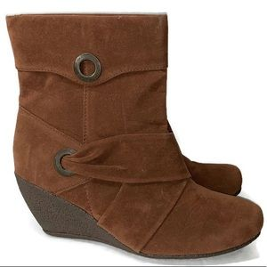 Faux Suade Brown Wedge Ankle Mid Calf Booties